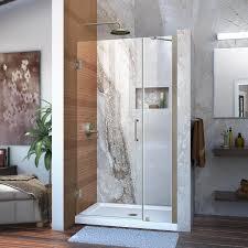 39 Shower Door Shop Dreamline Unidoor 39 In To 40 In W Frameless Brushed Nickel