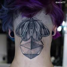 dotwork pyramid with butterfly tattoo on back neck by mxm