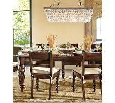 Long Dining Room Chandeliers Clarissa Crystal Drop Rectangular Chandelier Pottery Barn