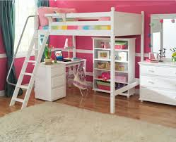 wooden twin over full bunk bed with curved desk and lots of