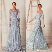 paolo sebastian vintage gray blue lace long sleeve prom dresses