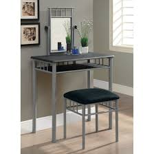 Bedroom Vanity Table With Mirror Silver Polished Cast Iron Make Up Table With Black Fabric