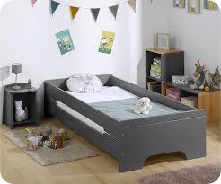 chambre enfant bois massif lit enfant gris anthracite 90x200 cm