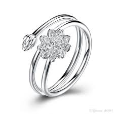 lotus engagement ring dainty silver winding shape lotus flower ring deco band us size 8