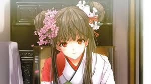 flower hair bun anime black hair faces flower petals flowers bun ornaments