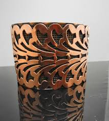 vintage copper cuff bracelet cut out leaf pattern on tradesy