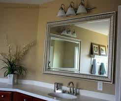 Metal Framed Bathroom Mirrors by Contemporary Bathroom With Silver Stripe Textured Metal Framed