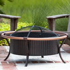 wood burning fire table fire sense 27 inch copper rail wood burning fire pit with screen