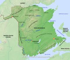 Moncton Canada Map by Physical Map Of New Brunswick