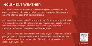 smithsonian nmaahc on due to the dangerous weather