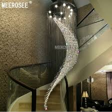 hall and stairs lighting big large spiral crystal chandelier lighting hotel villa crystal