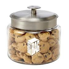 glass cookie jar mini chocolate chip cookies goimprints