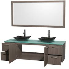 amare 72 inch double bathroom vanity in gray oak black granite