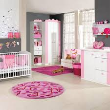 bedroom pink and white baby bed room circle carpet so nicely