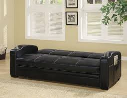 300132 black faux leather sofa bed w storage u0026 cup holders by coaster