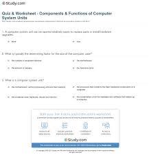 quiz u0026 worksheet components u0026 functions of computer system units