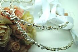 stefana crowns wedding swarovski and fresh water pearl stefana crowns x 2
