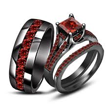his and hers black wedding rings wedding trio ring sets best wedding products and wedding ideas