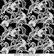 japanese pattern black and white clip art of ornate black and white repeating seamless tile pattern