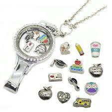 charm locket necklace images School teacher floating locket lanyard necklace teacher 39 s day jpg