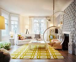 cool glass hanging chair feat yellow area rug idea and trendy arc