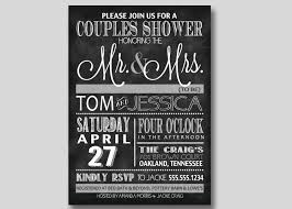 chalkboard typography bridal wedding couples shower invitation