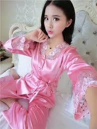 lace and satin pajamas robe set theone apparel