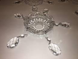 Bobeche Chandelier Parts 6 Vintage Clear Glass 5 Pin Bobeche W Drops Lamp Chandelier