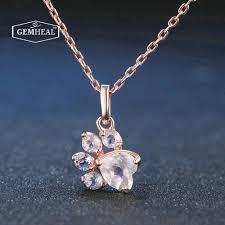quartz gemstone necklace images Pink rose quartz cat dog paw pendant necklace gemheal jpg