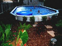 Simple Pool House Landscaping Around Above Ground Pool Ideas Simple Image Of White