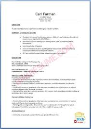 Childcare Resume Templates Sample Resume For Preschool Teacher Fresher Augustais