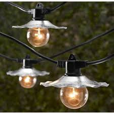 Vintage Outdoor Lights Outdoor String Lights With Galvanized Shades Bulbs Not Included