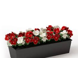 Black And White Planters by Simple Black Wooden Planter With Red And White Flowers 3d Model Obj