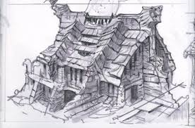 windhelm house rough sketch video games artwork