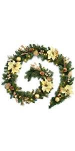 werchristmas thick pre lit decorated garland with warm white