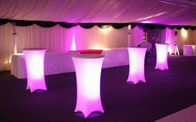 party table rental tables with lights underneath tablecloth for reception or