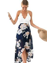 summer dress blooming jelly women s halter neck v asymmetrical floral