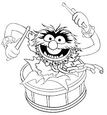 muppet show drumming coloring pages for kids gxl printable