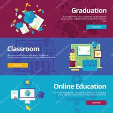 design online education set of flat design concepts for graduation classroom online