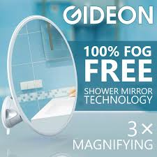 gideon fogless shower mirror with strong suction cup mounting base