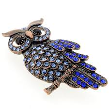 vintage style sapphire blue owl crystal bird pin brooch