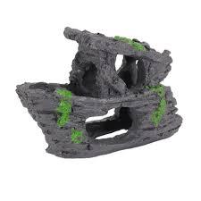 resin aquarium ornament rockery hollow hiding cave artificial boat