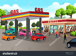 vector illustration people gas station convenience stock vector