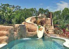 Backyards With Pools Luxury Pool Slide Rock Scape Ladscape Backyard Pools Pinterest