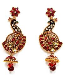 peacock design earrings 37 on peacock design jhumka earrings in maroon on