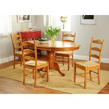 5 piece farmhouse ladder back dining table set wood oak tms target