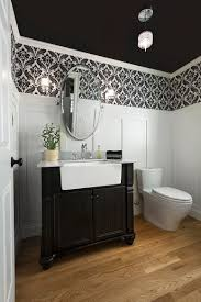 bathroom black and white bathroom with classic pattern wallpaper