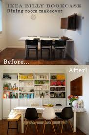 cuisine dinette ikea interiors transformation ikea billy bookcase dining room oyster