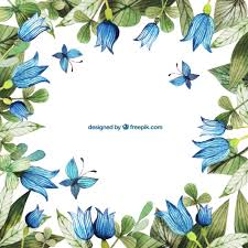 Blue Flowers - hand painted blue flowers frame vector free download