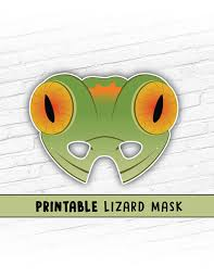 printable lizard mask template this listing is for a green lizard printable mask you will receive